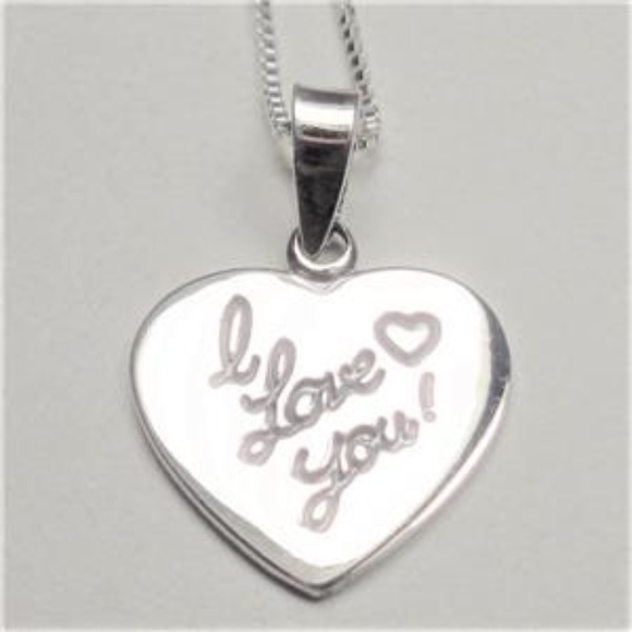 STERLING SILVER I LOVE YOU HEART LOVERS NECKLACE Boutique